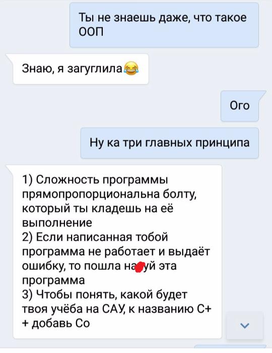 Три главных принципа Программирование, Скриншот, Скриншот диалога, ВКонтакте, Переписка, ООП