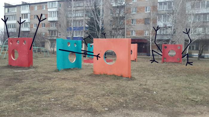 Арт Инсталляции в одном городе. Арт-Инсталяция, Свой взгляд, Палка палка огуречек, Елабуга