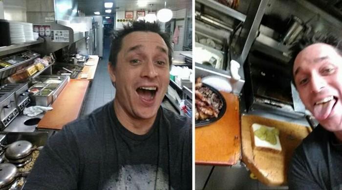 Парень сам приготовил еду на кухне в кафе, где все работники уснули Сендвич, Американцы, Красава, Длиннопост