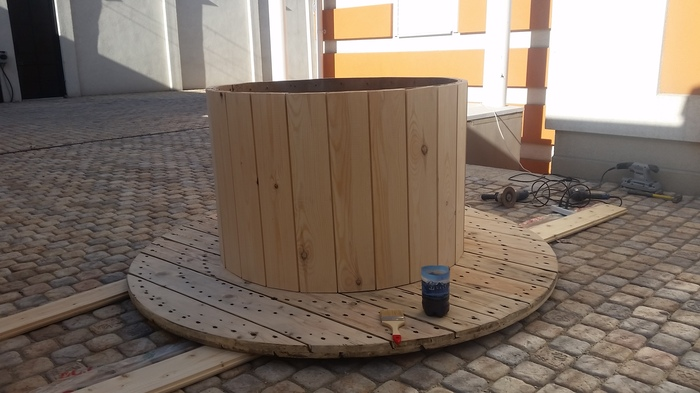 Немного дачного креатива Стол из катушки, Дизайн, Работа с деревом, Своими руками, Длиннопост