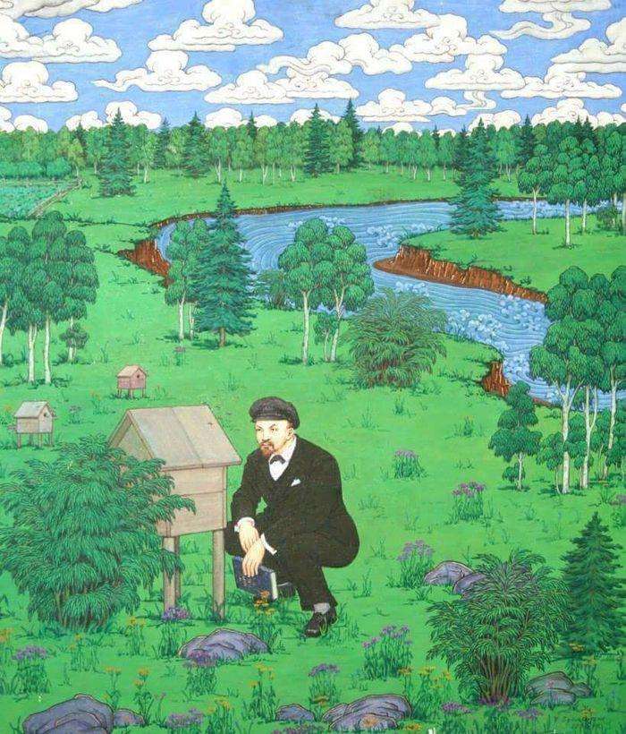 1970-е. «Ленин – пасечник». Монгольский плакат