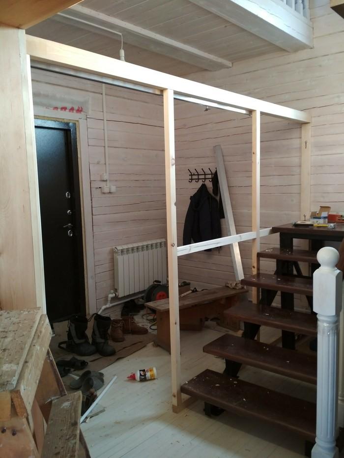 Тамбур своими силами (деревянно-стекольная) Строительство, своими руками, стеклянная перегородка, тамбур, видео, длиннопост