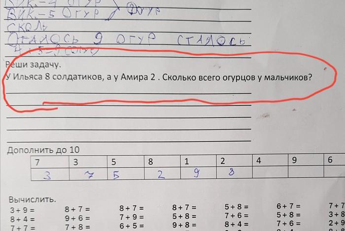 Реши задачу Образование, Задача, 1 класс