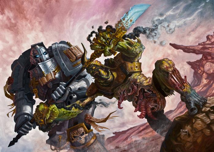 Работы Samuel Flegal Warhammer 40k, wh art, фан-арт, орки, хаос, космодесант, длиннопост