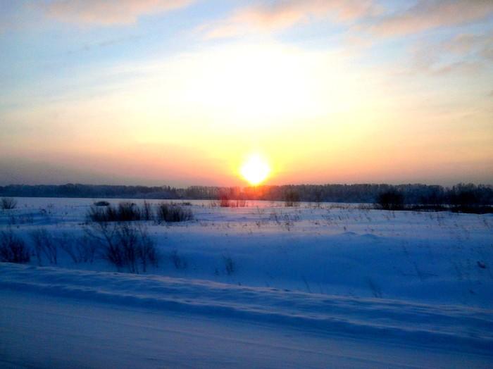 По дороге на горячие источники. Дорога, Тюмень, Горячие источники, Фотография, Пейзаж, Восход солнца, Длиннопост