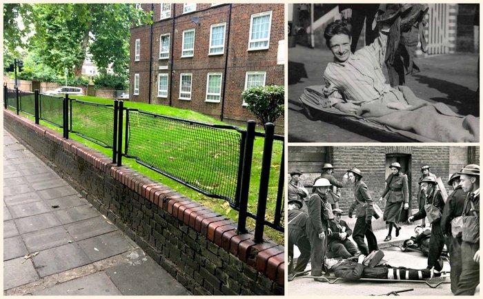 Лондонские ограждения Война, Лондон, забор, Носилки, длиннопост