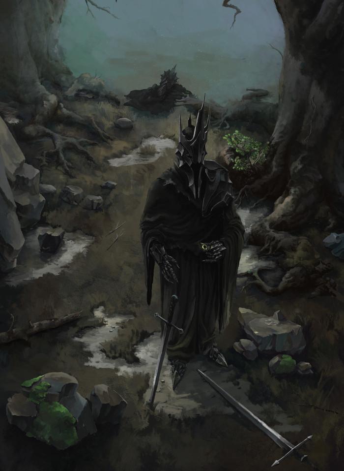 Король-Чародей жаждет власти Король-Чародей, Назгулы, Кольцо всевластия, Рисунок, Длиннопост