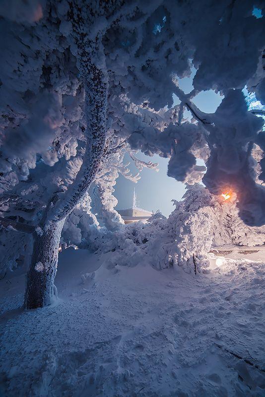 Зимний закат на вершине Машук. Пятигорск.