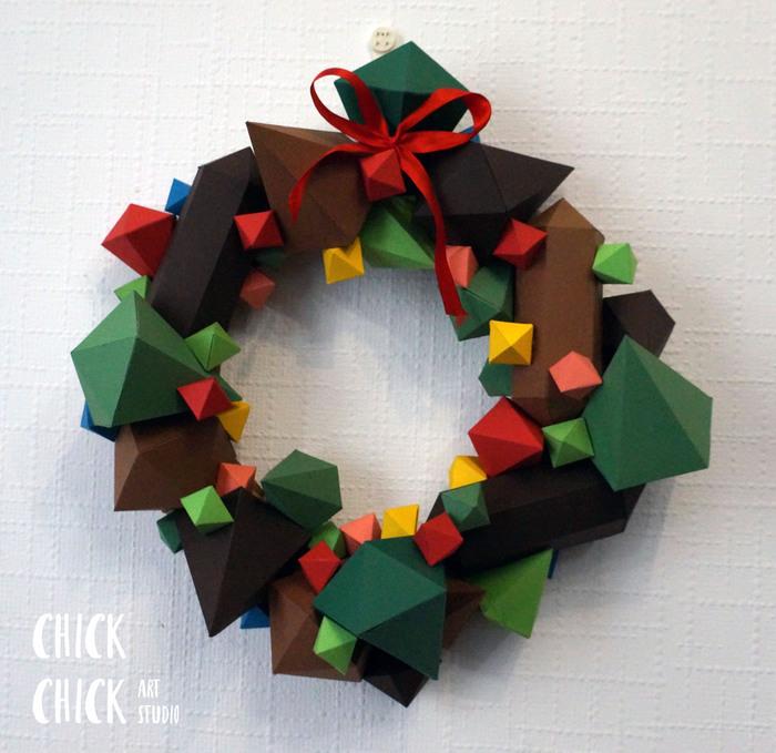 Новогодний веночек Papercraft, Венок, Ручная работа, Новый Год, Рождество, Изделия из бумаги, Длиннопост, Пятничное