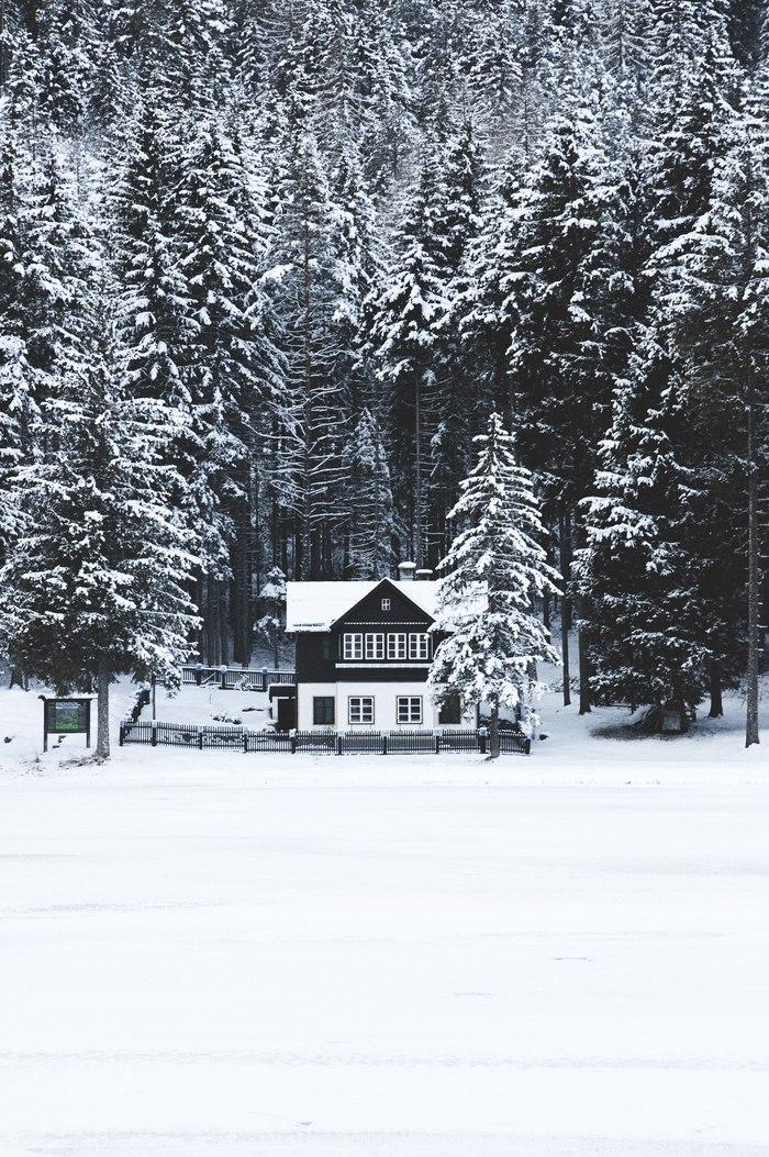 Дом у замёрзшего озера Фотография, Италия, Лес, Озеро, Дом, Зима, Nikon d90