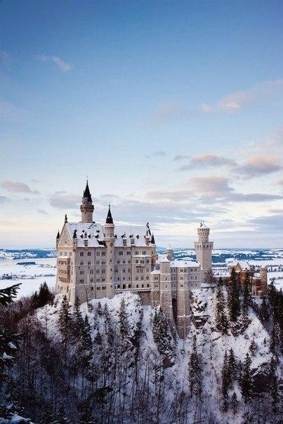 Зимний Нойшванштайн Зима, Снег, Замок, Архитектура, Зимняя сказка, Длиннопост