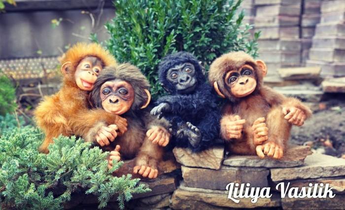 Настоящие игрушечные обезьянки Авторская игрушка, Обезьяна, Орангутан, Шимпанзе, Ручная работа, Длиннопост