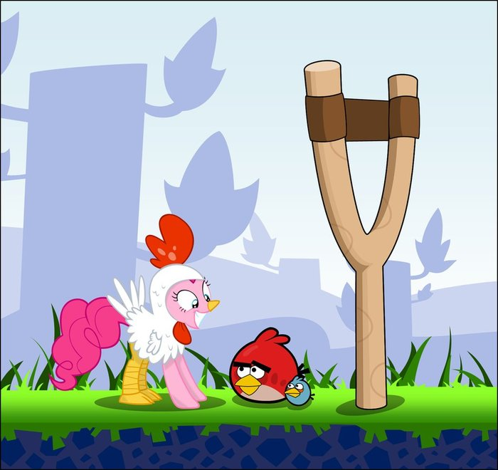 Новые птицы. My little pony, Angry Birds, Cutie mark crusaders, Fluttershy, Pinkie Pie, Crossover, Длиннопост