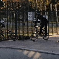 Да все в порядке, ребята Трюк, BMX, Забор, Везение, Между прутьев, Гифка, Велосипед