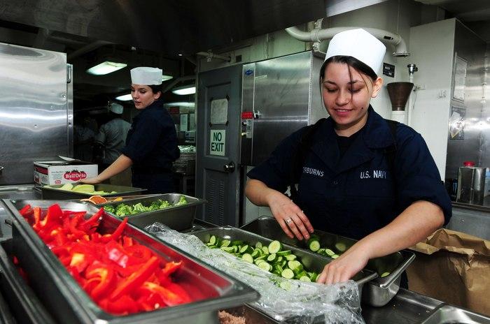 Приготовление пищи на борту авианосца Рональд Рейган (CVN-76) США, Армия, ВМС, Флот, Авианосец, Еда, Столовая, Длиннопост