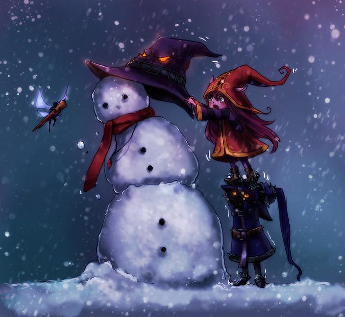Новогоднего празднования пост League of Legends, Арт, Veigar, Lulu, Jinx, Ahri, Poppy, Длиннопост