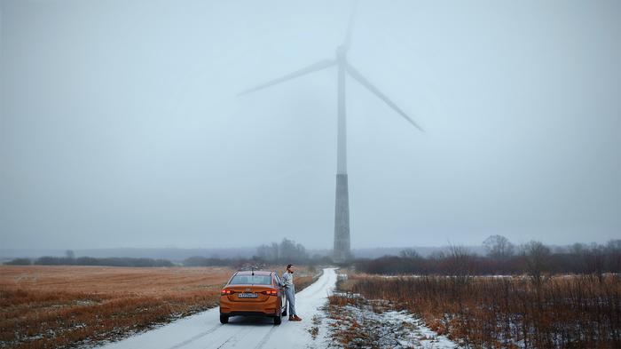 Эстонский пейзаж Эстония, Ветряк, Ветрогенератор, Пейзаж, Фотография, Зима