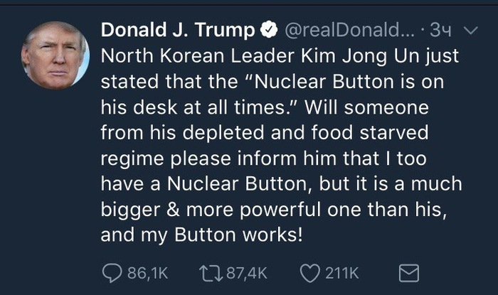 Очередные угрозы КНДР Twitter, Трамп, Ким чен ын, Северная корея, США и КНДР, Политика