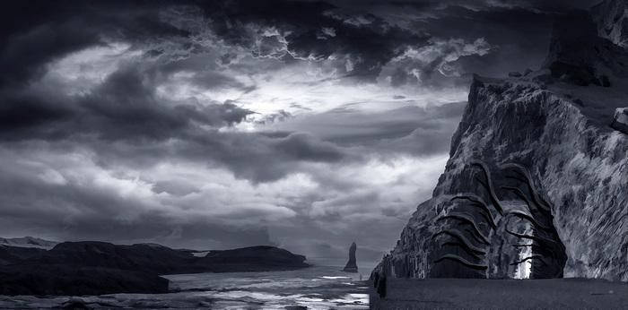 Как я рисовал на заказ: монстра в пещере (картину-обложку для музыканта из группы Embrace the Dawn) Апокалипсис, Моё, Картина, Photoshop, Пейзаж, Арт, Монстр, Гигер, Длиннопост