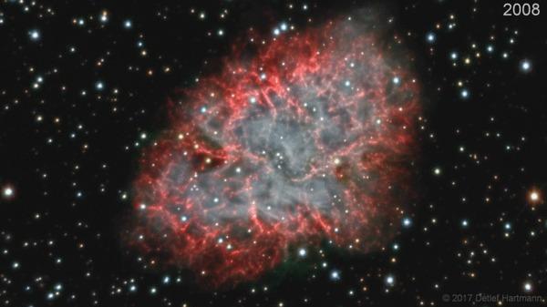 M1: удивительный расширяющийся Краб Крабовидная туманность, Космос, М1, Гифка