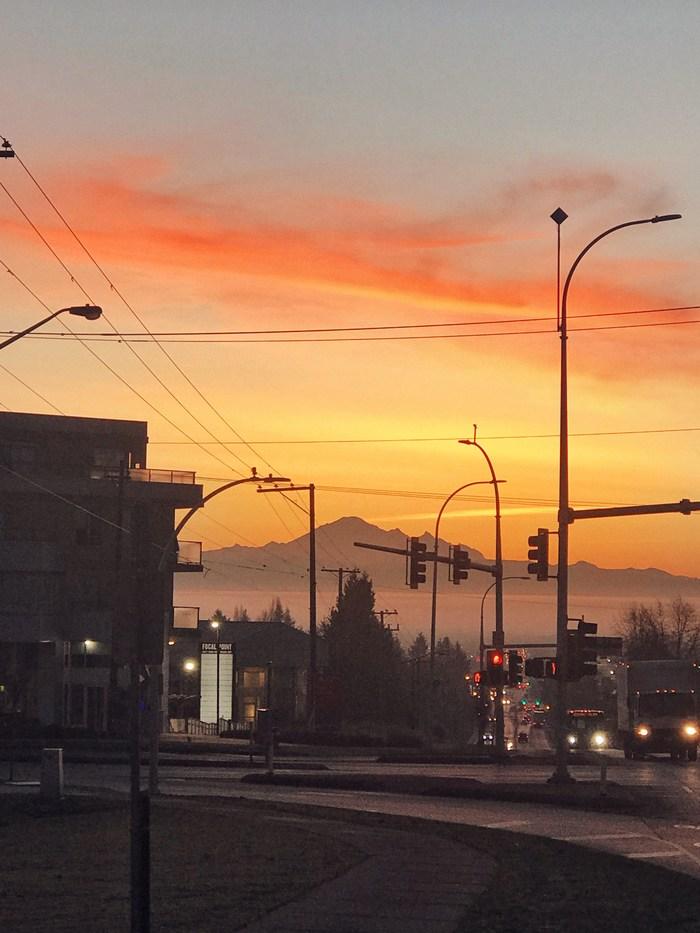 Рассвет по пути на работу Рассвет, Ванкувер, Подборка, Канада, Горы, Фотография, Длиннопост