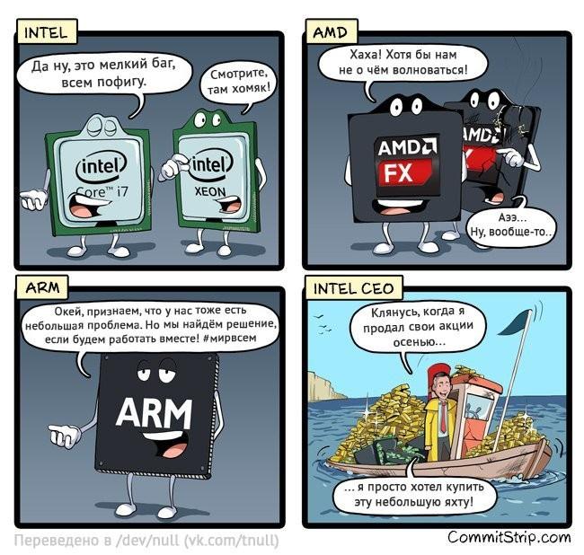 Коротко о самом важном баге этого года Intel, Amd, Microsoft, Баг, Commitstrip, Комиксы