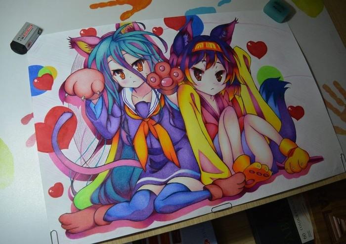 Рисунок No game no life No game no life, Shiro, Hatsuse Izuna, Рисунок на бумаге, Ушастые, Лоля