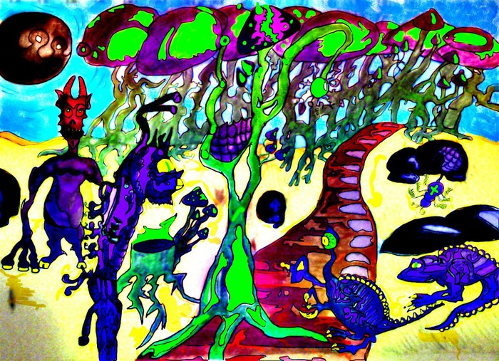 Грибочки Рисунок, Грибы, Психоделика