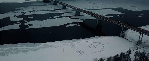 Печальное лицо размером с дом появилось на льду Камы Кама, Пермь, Арт, Sad Face, Лицо