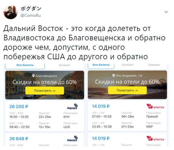 Коротко о ситуации с авиаперелетами на Дальнем Востоке России