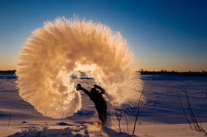 Минус 40 градусов на улице Лед, Холодно, Кипяток