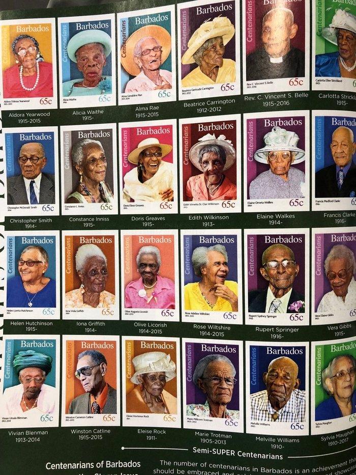 Жители Барбадоса, достигнувшие 100-летнего возраста, получают именные марки в свою честь
