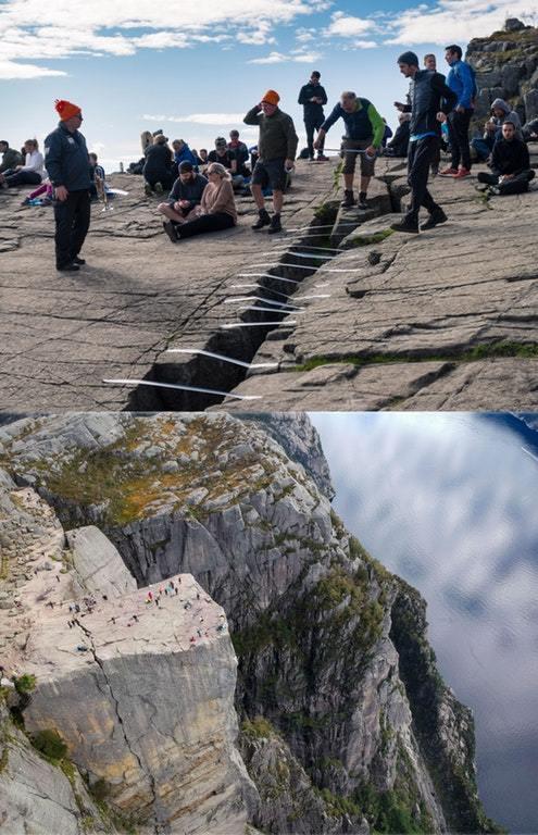 Скала не болей(Починили). Фотография, Изолента, Норвегия, Скалы, Трещина