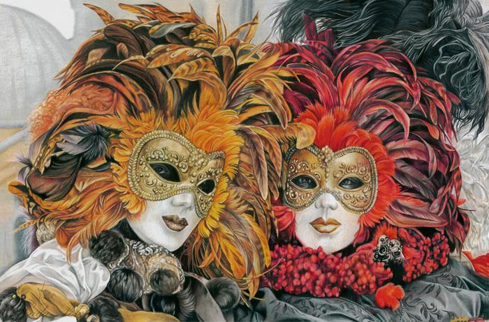 """Рисунок цветными карандашами """"Венецианские маски"""" Рисунок, Цветные карандаши, Венецианская маска, Венецианский карнавал, Маски, Карнавал, Венеция, Перья"""