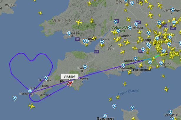 ПОздравление от Virgin Arlantic День святого валентина, Авиация, Трек, Flightradar24