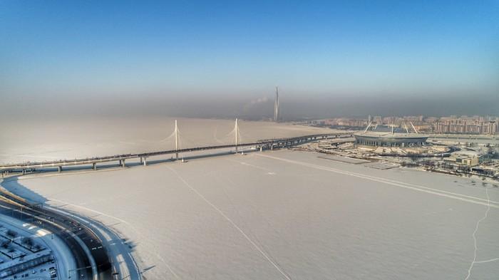 Санкт-Петербург зимой - ночью и днём. Квадрокоптер, Санкт-Петербург, Полет, Стадион, ЗСД, Всевидящее око