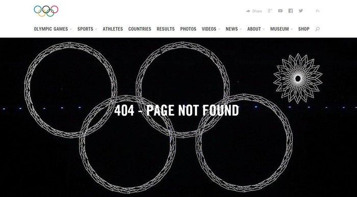 Ошибка 404 на сайте Олимпийских игр