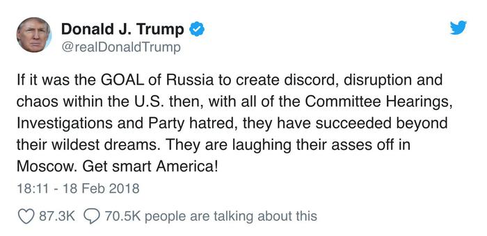 Трамп: если целью РФ было создание хаоса в США, то она этого добилась Выборы США, Политика, Россия, США, Дональд трамп, Фбр, ТАСС