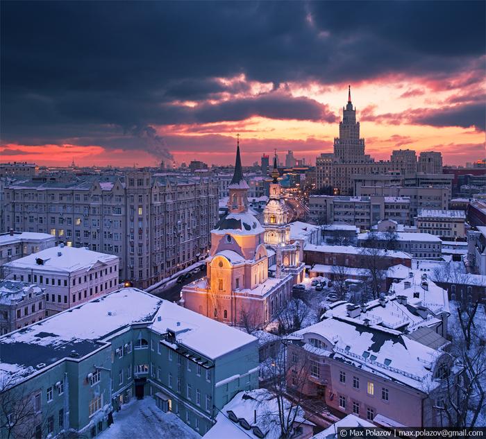 Зимний закат Фотография, Max Polazov, Москва, Крыша, Высота, Закат