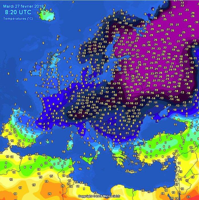 Температура в Европе 27 февраля 2018 года. Послезавтра весна. Карты, Европа, Погода, Температура, Весна