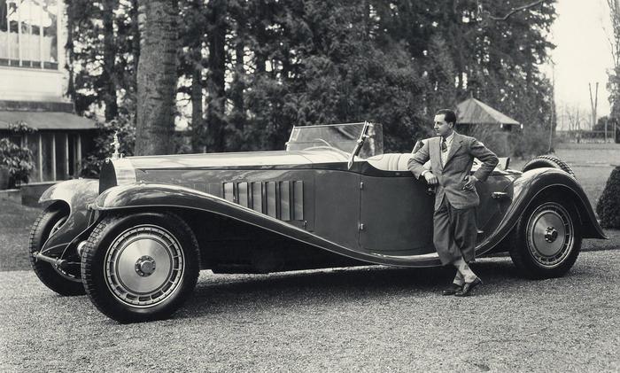 Ettore Bugatti со своим Bugatti Royale, 1927 г.