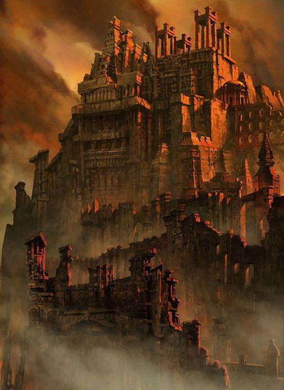 Заброшенный город на скале Руины, Фэнтези, Арт