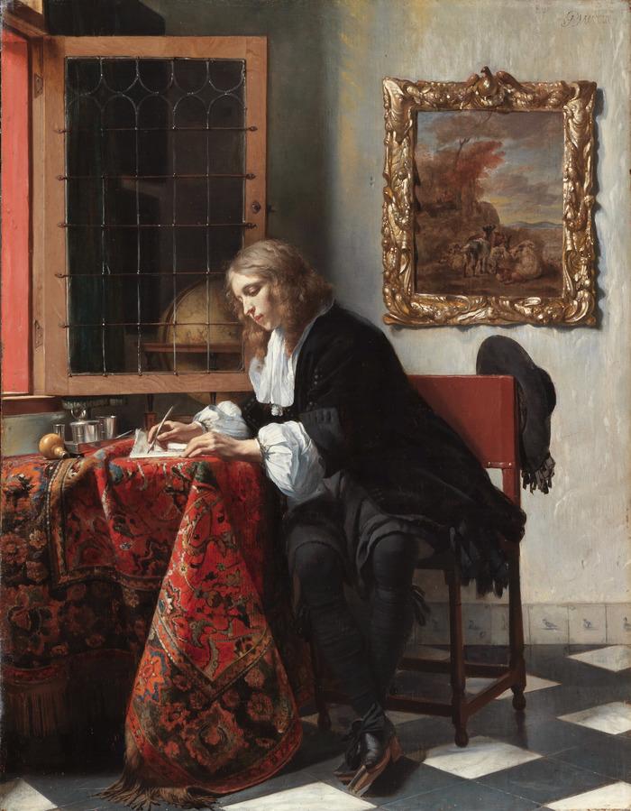 Габриэль Метсю «Мужчина пишет письмо», 1664 Портрет, живопись, 17 век, длиннопост