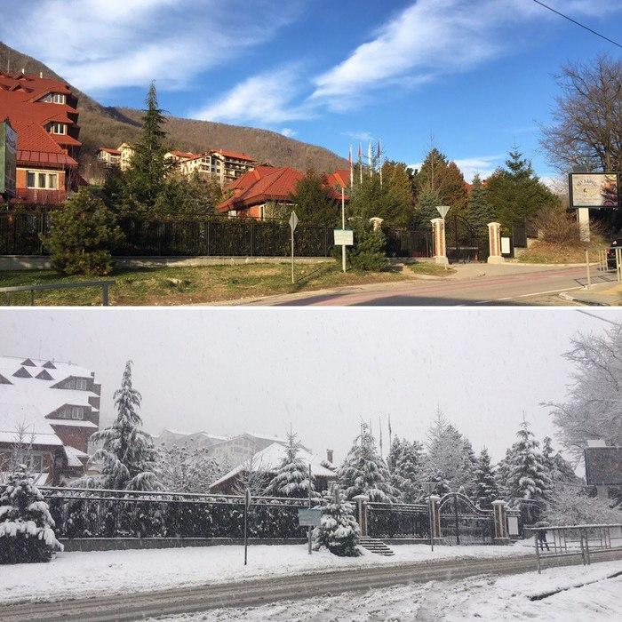 Разница между фото 1 сутки Сочи, Красная Поляна, Лето, Зима