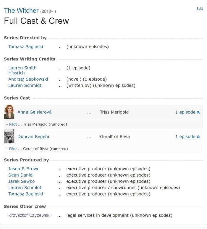 На IMDB появилась информация об актерах, подобранных для съемок в сериале по вселенной Ведьмака Сериал Ведьмак, Ведьмак, Анджей Сапковский, Актеры, Длиннопост