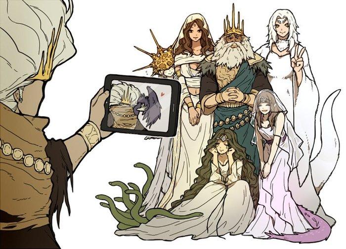 Сфотографируй меня с моими дочками! Dark souls, Gwyn, Dark Sun Gwyndolin, Присцилла, Company Captain Yorshka, Gwynevere, Filianore, Nameless King
