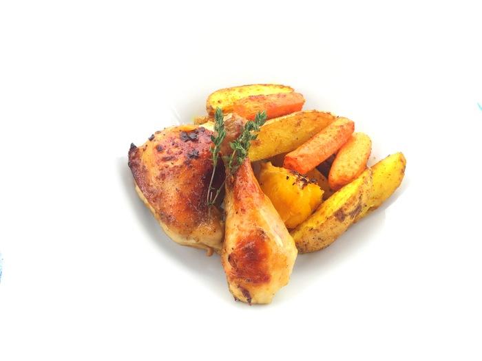 Куриные бедра, запеченные с розмарином и апельсинами в соевом соусе + гарнир Курица, Рецепт, Видео, Длиннопост