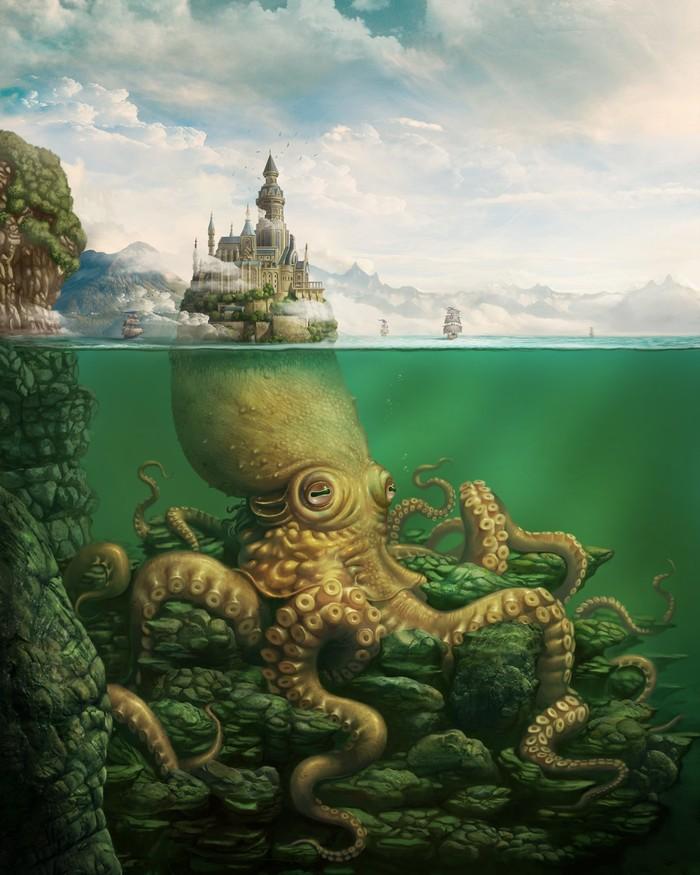 Kingdom of Kraken Арт, Рисунок, Кракен