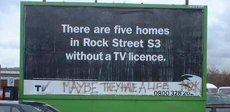Биллборды и ТВ-лицензия Телевидение, Великобритания, Лицензия, Билборд