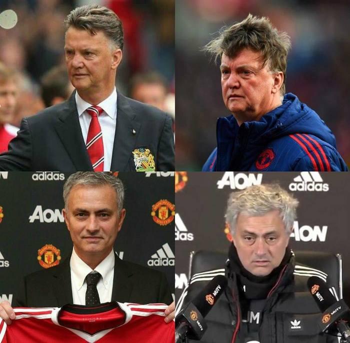 Сложно быть тренером Манчестер Юнайтед Спорт, Футбол, Манчестер Юнайтед, Луи ван Гал, Жозе Моуринью, Стресс, Сравнение, До и после